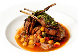 lamb chop with chick peas