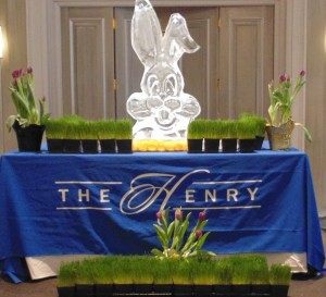 ice sculpture of easter bunny